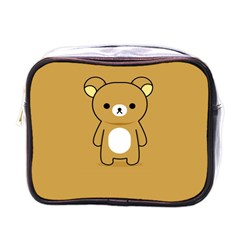 Bear Minimalist Animals Brown White Smile Face Mini Toiletries Bags