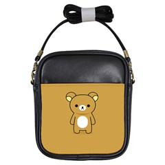 Bear Minimalist Animals Brown White Smile Face Girls Sling Bags