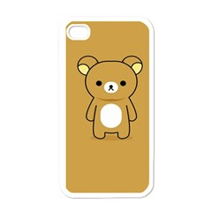 Bear Minimalist Animals Brown White Smile Face Apple iPhone 4 Case (White)