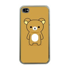 Bear Minimalist Animals Brown White Smile Face Apple iPhone 4 Case (Clear)