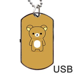 Bear Minimalist Animals Brown White Smile Face Dog Tag Usb Flash (two Sides)