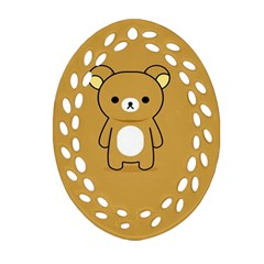 Bear Minimalist Animals Brown White Smile Face Ornament (Oval Filigree)