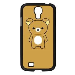 Bear Minimalist Animals Brown White Smile Face Samsung Galaxy S4 I9500/ I9505 Case (Black)