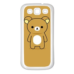 Bear Minimalist Animals Brown White Smile Face Samsung Galaxy S3 Back Case (White)