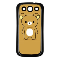 Bear Minimalist Animals Brown White Smile Face Samsung Galaxy S3 Back Case (Black)
