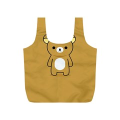 Bear Minimalist Animals Brown White Smile Face Full Print Recycle Bags (S)