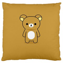 Bear Minimalist Animals Brown White Smile Face Large Flano Cushion Case (Two Sides)