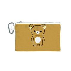 Bear Minimalist Animals Brown White Smile Face Canvas Cosmetic Bag (S)