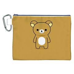 Bear Minimalist Animals Brown White Smile Face Canvas Cosmetic Bag (XXL)