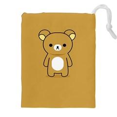 Bear Minimalist Animals Brown White Smile Face Drawstring Pouches (XXL)