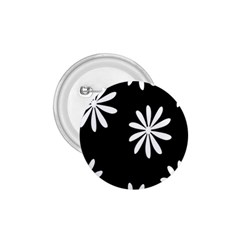 Black White Giant Flower Floral 1.75  Buttons
