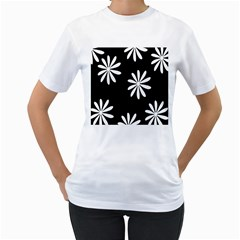 Black White Giant Flower Floral Women s T-Shirt (White) (Two Sided)