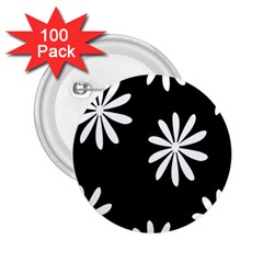 Black White Giant Flower Floral 2.25  Buttons (100 pack)