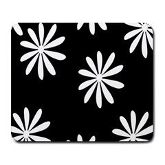 Black White Giant Flower Floral Large Mousepads
