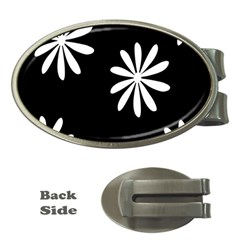 Black White Giant Flower Floral Money Clips (oval)