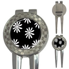 Black White Giant Flower Floral 3-in-1 Golf Divots