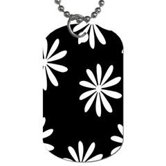 Black White Giant Flower Floral Dog Tag (one Side)