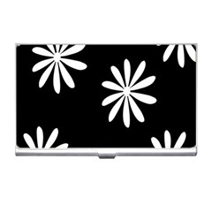 Black White Giant Flower Floral Business Card Holders