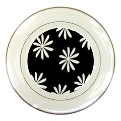 Black White Giant Flower Floral Porcelain Plates