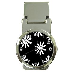 Black White Giant Flower Floral Money Clip Watches