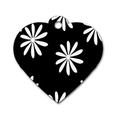 Black White Giant Flower Floral Dog Tag Heart (One Side)
