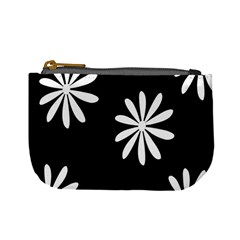Black White Giant Flower Floral Mini Coin Purses
