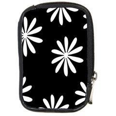 Black White Giant Flower Floral Compact Camera Cases