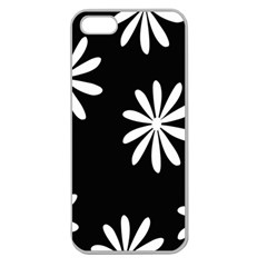 Black White Giant Flower Floral Apple Seamless iPhone 5 Case (Clear)