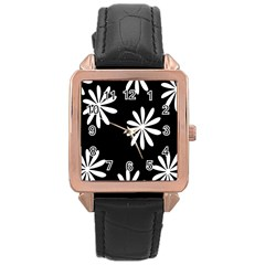 Black White Giant Flower Floral Rose Gold Leather Watch