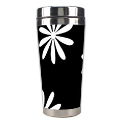Black White Giant Flower Floral Stainless Steel Travel Tumblers