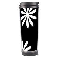 Black White Giant Flower Floral Travel Tumbler