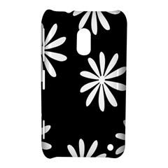 Black White Giant Flower Floral Nokia Lumia 620