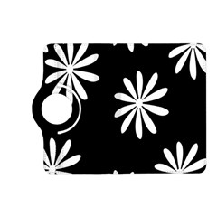Black White Giant Flower Floral Kindle Fire HD (2013) Flip 360 Case