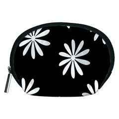 Black White Giant Flower Floral Accessory Pouches (Medium)