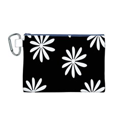 Black White Giant Flower Floral Canvas Cosmetic Bag (M)