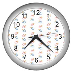 Baby Pacifier Pink Blue Brown Kids Wall Clocks (Silver)