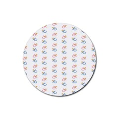 Baby Pacifier Pink Blue Brown Kids Rubber Coaster (Round)