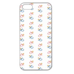 Baby Pacifier Pink Blue Brown Kids Apple Seamless iPhone 5 Case (Clear)