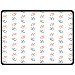 Baby Pacifier Pink Blue Brown Kids Double Sided Fleece Blanket (Large)