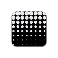 Circle Masks White Black Rubber Square Coaster (4 pack)