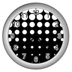 Circle Masks White Black Wall Clocks (silver)