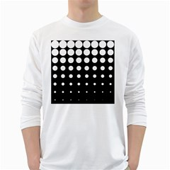 Circle Masks White Black White Long Sleeve T-Shirts