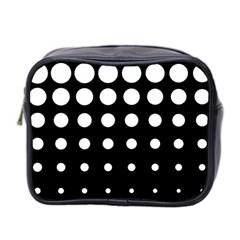 Circle Masks White Black Mini Toiletries Bag 2-Side