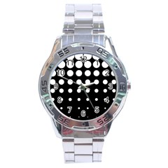 Circle Masks White Black Stainless Steel Analogue Watch