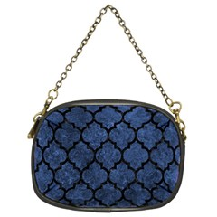 Tile1 Black Marble & Blue Stone (r) Chain Purse (two Sides)