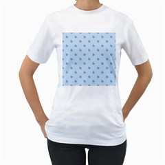Blue Butterfly Line Animals Fly Women s T-Shirt (White) (Two Sided)