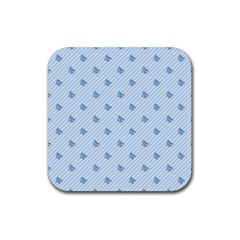 Blue Butterfly Line Animals Fly Rubber Coaster (square)