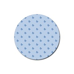 Blue Butterfly Line Animals Fly Rubber Round Coaster (4 Pack)