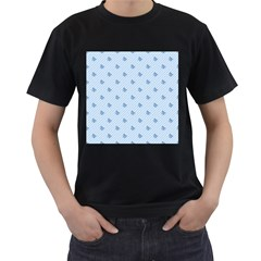Blue Butterfly Line Animals Fly Men s T-Shirt (Black) (Two Sided)