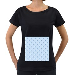 Blue Butterfly Line Animals Fly Women s Loose-Fit T-Shirt (Black)